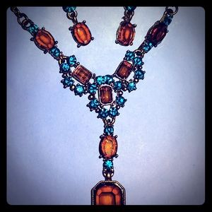 Jewelry - Aqua and Amber Stone Necklace and Earring Set